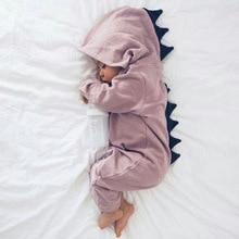Мультфильм динозавра Дизайн с капюшоном Песочники Одежда для новорожденных из хлопка с длинными рукавами Комбинезоны верхняя одежда для мальчиков и девочек костюм Подарок для ребенка