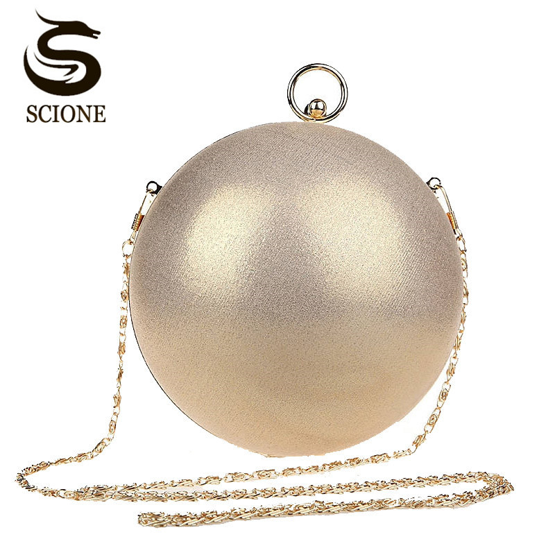 Cute Lovely Funny Bag Gold Clutch Red Ball Shaped Silver Evening Bag Ladies Black Handbag Women Round Shoulder Wedding Bag