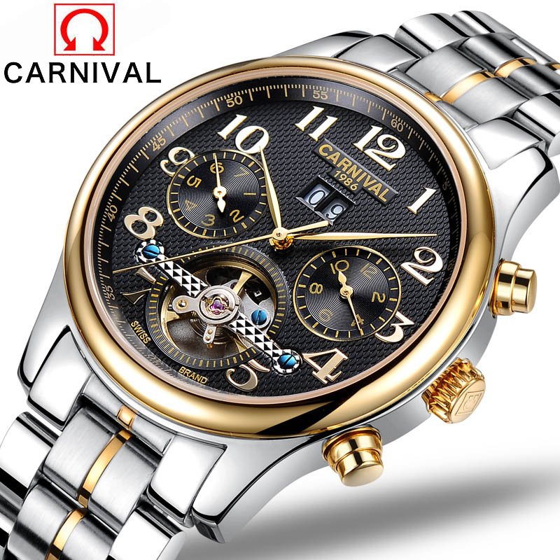 2016 Carnival watches men automatic mechanical watch hollow steel men's fashion business waterproof watch male table Tourbillon все цены