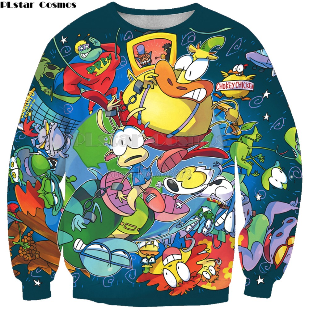 PLstar Cosmos Brand Clothing 2019 New Fashion Men Sweatshirt Cartoon Character Print 3d Unisex Casual O-Neck Pullover XPS-55