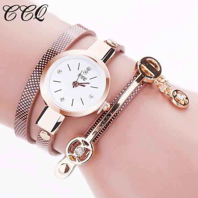 CCQ Hot Women Long Leather Bracelet Watches Gold Fashion Quartz Watch Casual Wrist Watch Relojes Mujer Relogio Feminino 1657 2