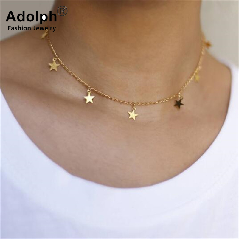 ADOLPH Star Jewelry Star Choker Necklace Gift Women Gold Sliver Color Chains Boho Chokers Statement Accessories Femme 2018 New