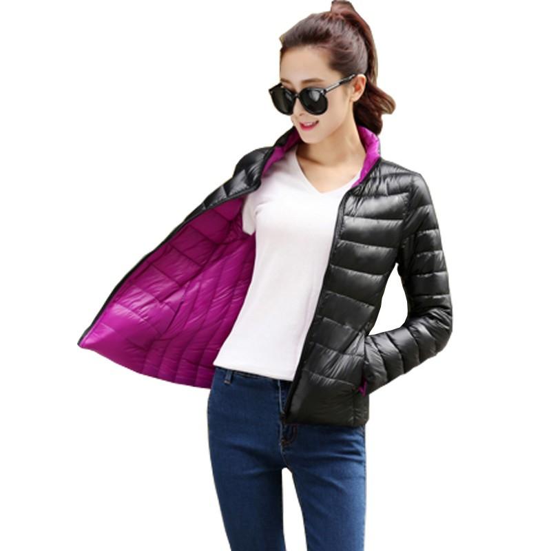 Manteau-Femme-Stand-Collar-Slim-Short-White-Duck-Women-Ultra-Light-Down-Jacket-Casual-Padded-Coat
