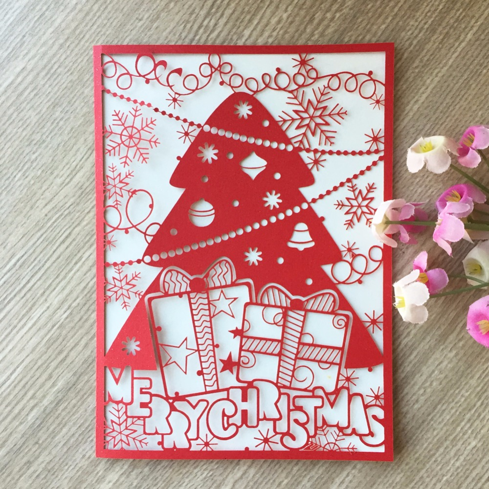 50pcnew merry christmas tree vintage laser cut chinese red
