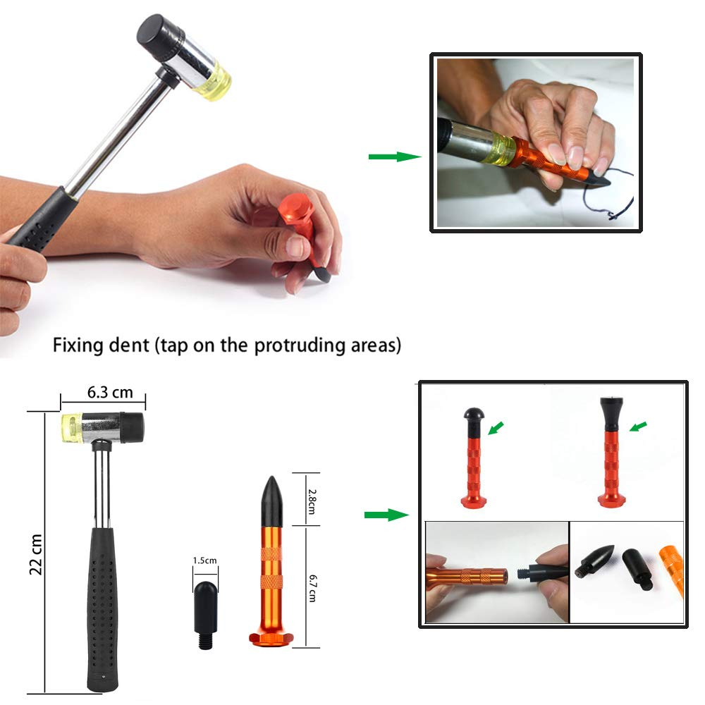 Купить с кэшбэком PDR Tools Paintless Dent Repair Tool Dent Removal  Repair Hammer Tap down with 9 heads