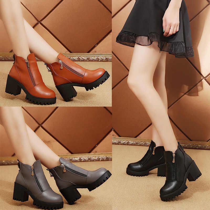 Женская обувь на осень-зиму пикантные черные Обувь на высоком каблуке ботильоны Женская мода на платформе искусственная кожа ретро Ботинки martin Большие размеры