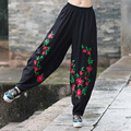 New Ethnic Style Black Color Spring Autumn Cotton Linen Elastic Waist Casual Pants Women Harem Trousers Pants