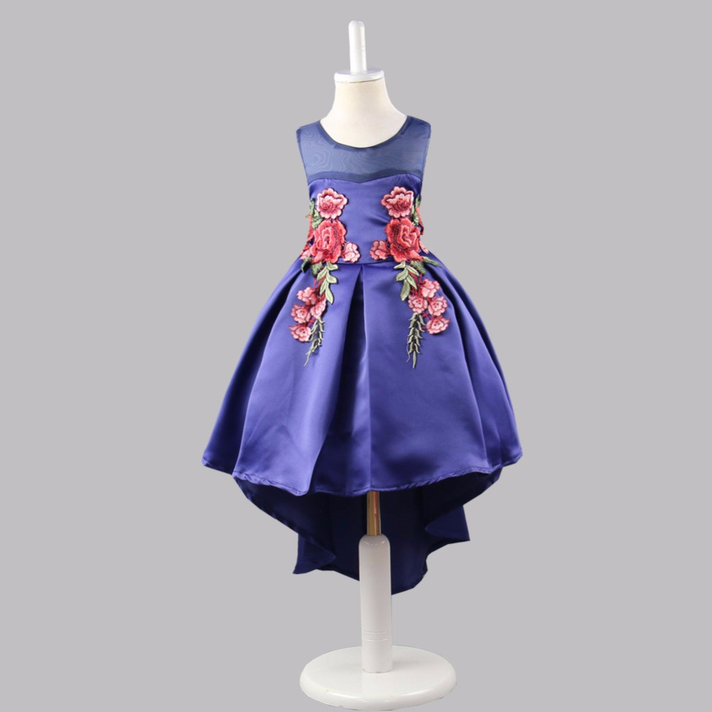 Princess Dress Costumes for Kids Clothes 2017 Brand Sleeveless Girls Dresses for Party and Wedding Embroidery Children Dress white princess dress costumes for kids clothes 2017 brand summer girls dresses for party wedding lace high collar children dress