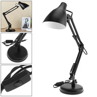 New Black Flexible Swing Arm Desk Lamp with Light Base And Clamp Mount Support 360 Degree Rotation for Office / Home