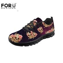 Zapatos planos negros FORUDESIGNS para mujer, zapatillas ligeras informales con estampado 3D de calavera Vintage para chicas, zapatos transpirables de verano
