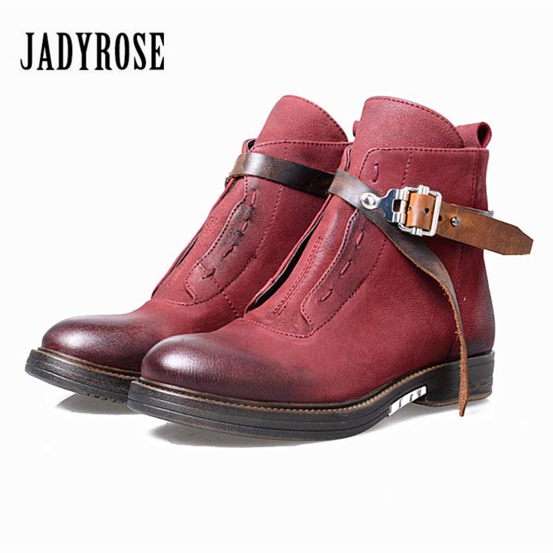 Jady Rose 2017 New Genuine Leather Women Ankle Boots Square Heel Flat Booties Winter Snow Boots Short Rubber Martin Boot