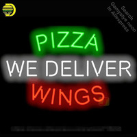Neon Sign for Pizza Wings We Deliver Neon Tube vintage Bright sign handcraft Lamp Store Displays Tube Glass Neon Flashlight sign