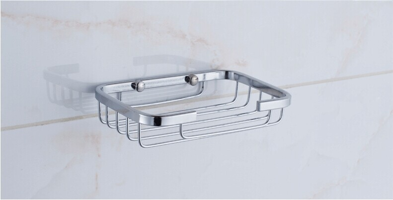 1PC Fashion Popular Chrome Plated Convenience Facility Classic Strong Suction Bathroom Shower Soap Dish Holder Cup Tray KH 2029
