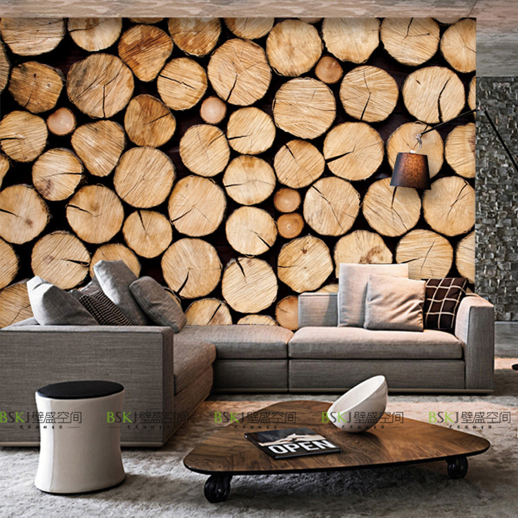 Wholesale 3d Wall Photo Murals with Wood Circle Mural for Bedding