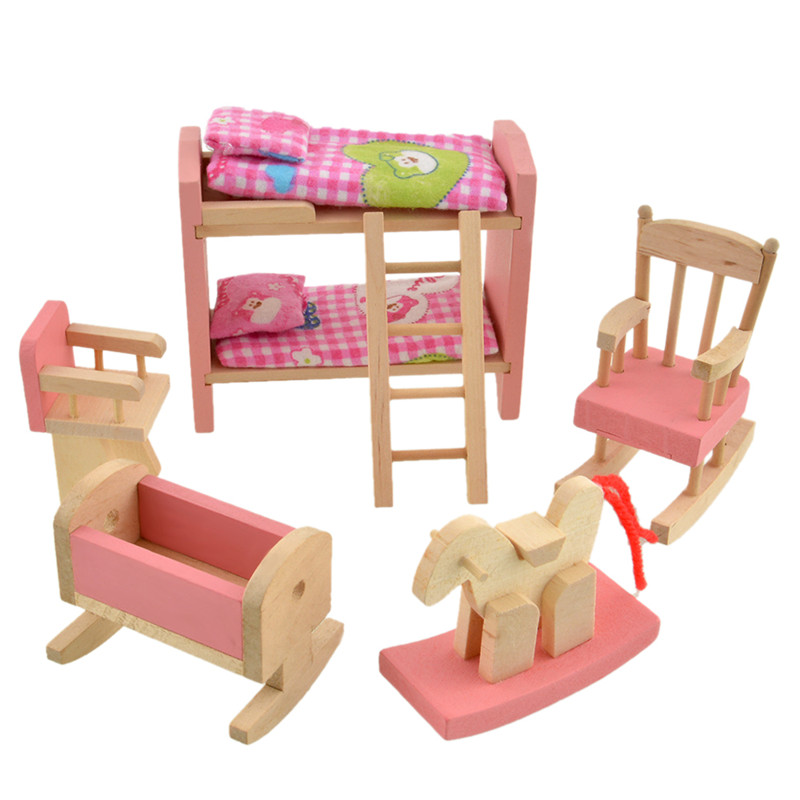 Wood Baby Doll Furniture #17: 5pcs/set Wooden Doll Furniture Bunk Bed Set Well-made Dollhouse Furniture Kids Bed Set With Ladder Chair Cradle