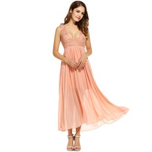 ANGVNS Summe Long Dress Women Lady Elegant Spring Floral Lace Chiffon Sequined Maxi Party Beach Dress 2017 Vestidos Pink White