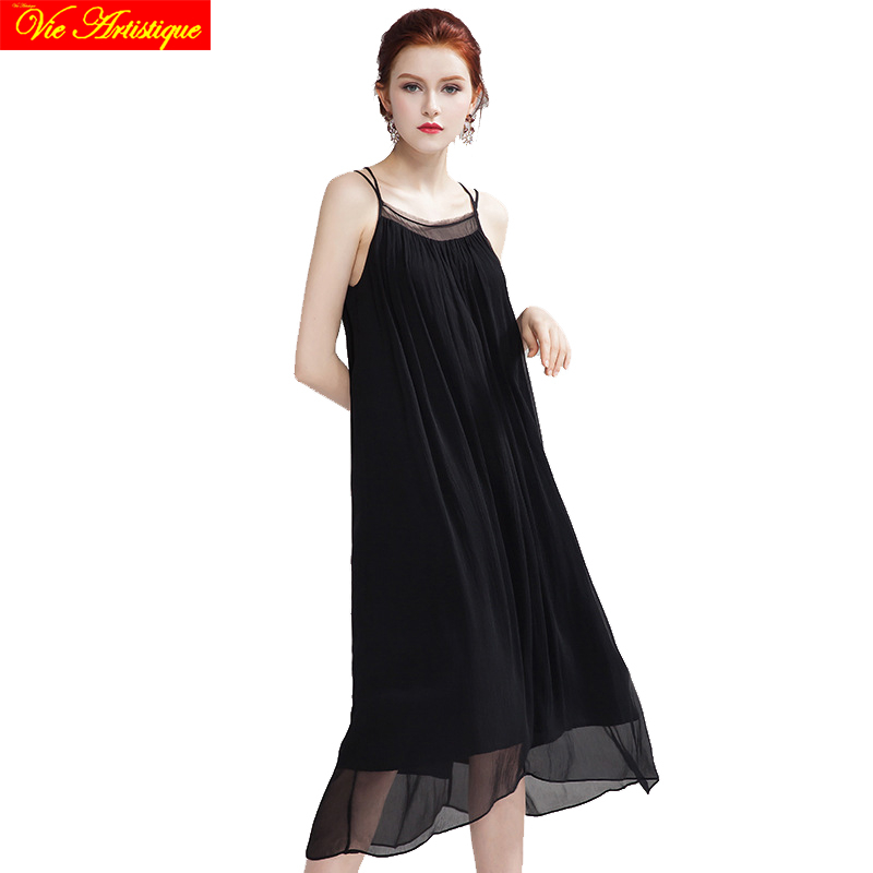 womens render skater dress ladys long casual office loose fit silk dresses plus large size black white 2018 spring summer VA