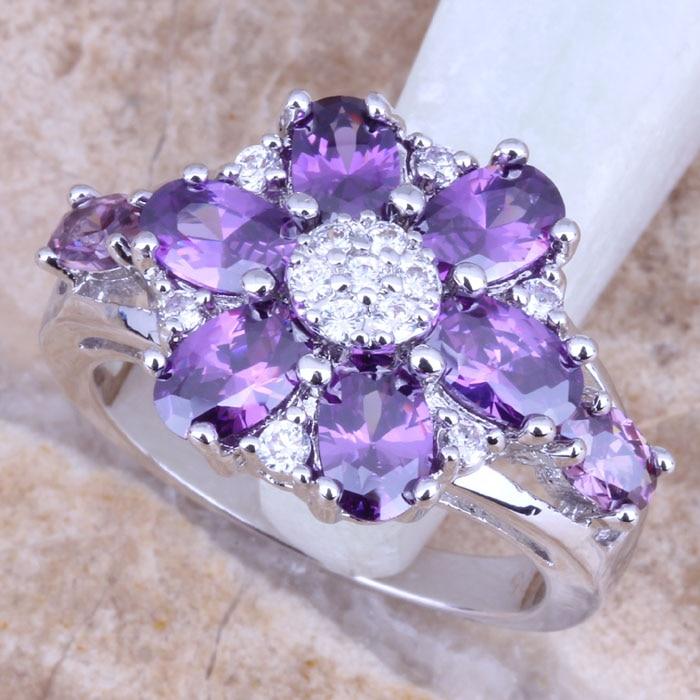 【ᗑ】Идеальный Фиолетовый Цирконий белый cz 925 серебро ...