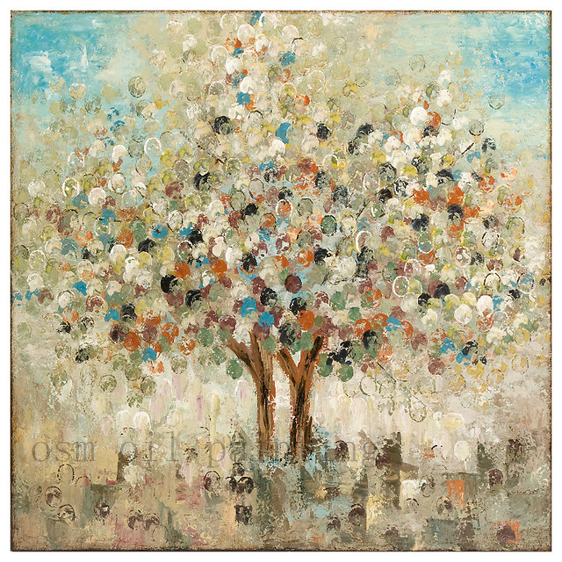 Us 43 0 50 Off Wall Artwork Imax Season Hand Painted Oil Canvas Tree Painting Bule Beige Contemporary Paintings Handpainting Knife Oil Painting In