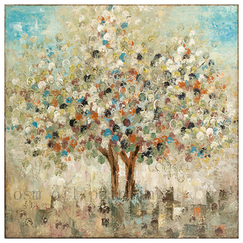 Wall Artwork Imax Season Hand Painted Oil Canvas Tree Painting Bule Beige Contemporary Paintings Handpainting Knife Oil Painting