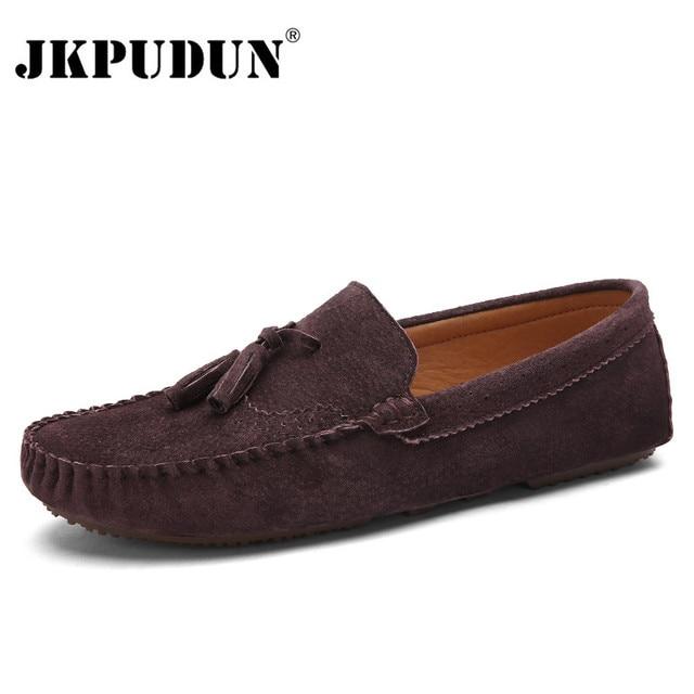 610165b33cd JKPUDUN Suède Heren Instappers Mocassins Designer Mannen Italiaanse Casual  Schoenen Hoge Kwaliteit Ademend Flats Voor Mannen