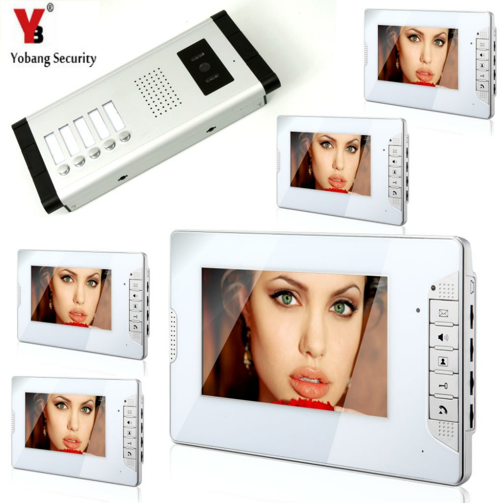 Yobang Security Home Intercom 7'Inch Monitor Video Door Phone Doorbell Speakerphone Intercom Camera System For 5 Unit Apartment yobang security free ship 7 video doorbell camera video intercom system rainproof video door camera home security tft monitor