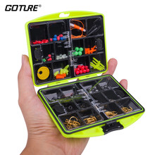 Goture Rock Fishing Accessories Set Fishhooks Float Lead Sinker Swivel Connector Beads with Strong Fishing Tackle Box(China)