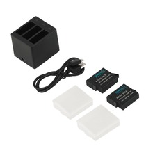 Professional Design Camera Accessories Battery Charger 3 Channel Three Port With USB Cable Charging 2 Batteries Black
