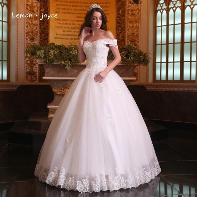 Magnifique Robes De Bal Robes De Mariée 2018 Bateau Cou Gonflé Dentelle  Perlée Applique Blanc Arabe
