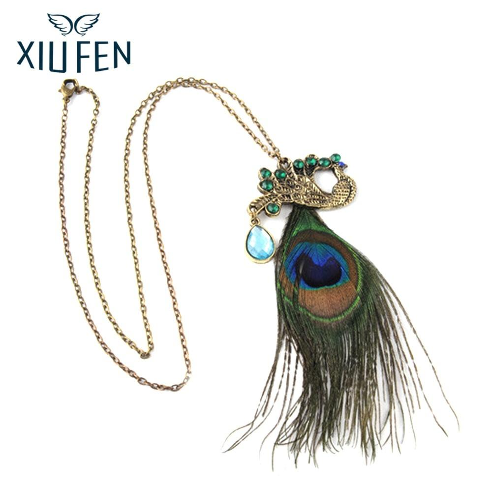 XIUFEN Necklace Fully-Jewelled Peacock Necklace Stylish Phoenix Sweater Chain Ornament Christmas New Year Birthday Gift ZK30