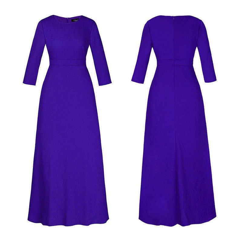 2019 קיץ ארוך שרוול נשים שמלה מוצק ארוך שרוול חוף שמלת טוניקת מקסי שמלת נשים ערב המפלגה שמלה קיצית Vestidos