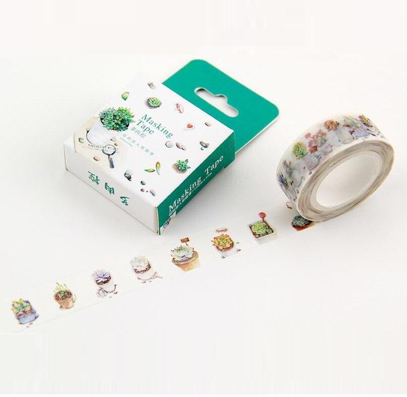 Коробку 1 1roll = 15 мм * 10 м высокое качество суккуленты узор японский васи декоративные DIY маскировки бумажной ленты этикетка наклейка подарок