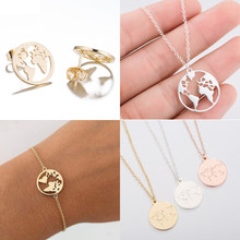 Jisensp Stainless Steel Origami World Map Necklace for Women Simple Jewelry Round Necklaces Pendants Earth Day Gift bijoux femme(China)