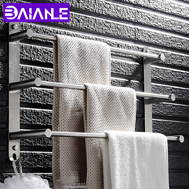 Wall Mounted Bathroom Bath Rack Holder Storage Shelf Towel Rail Stainless Steel