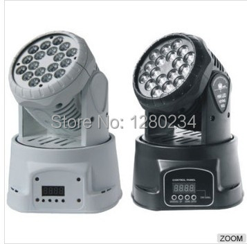 2 pcs/lot LED éclairage amérique stade 18*3 W RGB mini faisceau mobile tête lavage disco lumière commerciale LED lumières avec dmx mode pour barre
