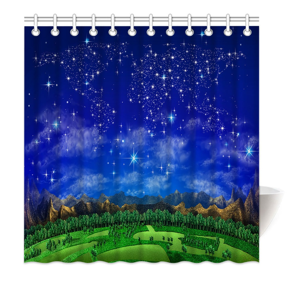 HommomH Shower Curtain Weights Resistant Waterproof Fabric With Hooks Bathroom World Map Starry Forest Mountain Blue|Shower Curtains| |  - title=