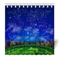 HommomH Shower Curtain Weights Resistant Waterproof Fabric With Hooks Bathroom World Map Starry Forest Mountain Blue|Shower Curtains| |  -