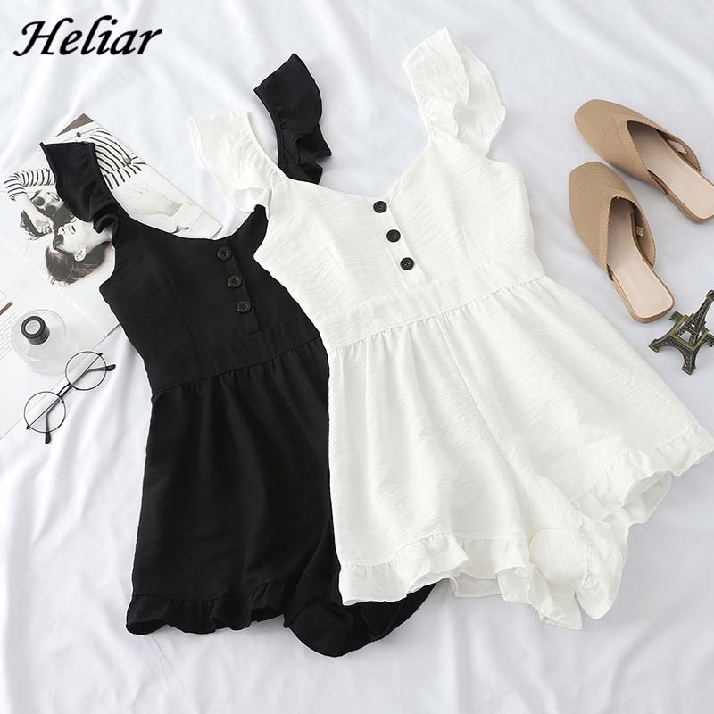 HELIAR Playsuits Female Casual Rompers With Buttons Playsuits High Waist Rompers Elastic Lady 2019 Summer Playsuits For Women