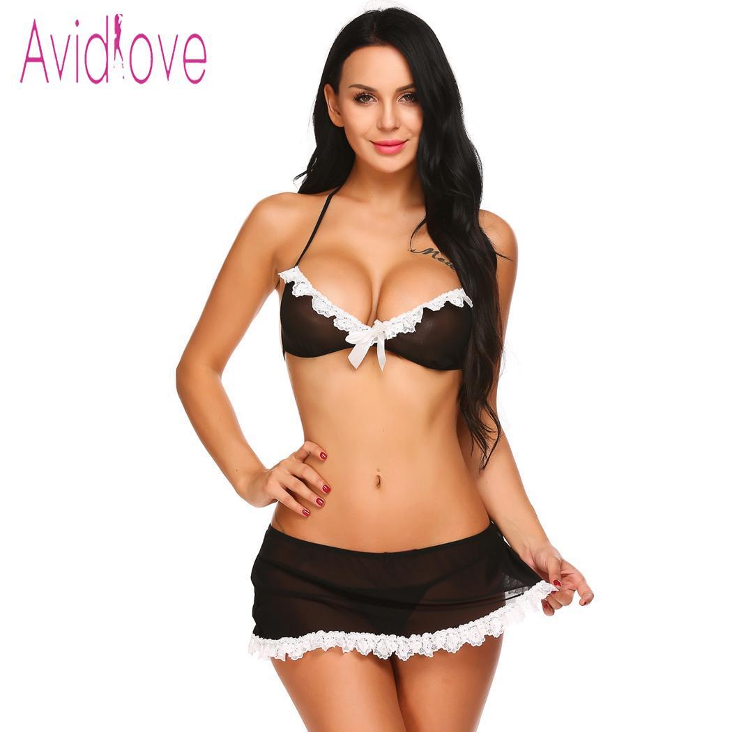 bb5959f3a1 Lingerie Erotic Uniform Set Black Floral Lace Trimmed Half Bra Slit Mini  Skirt