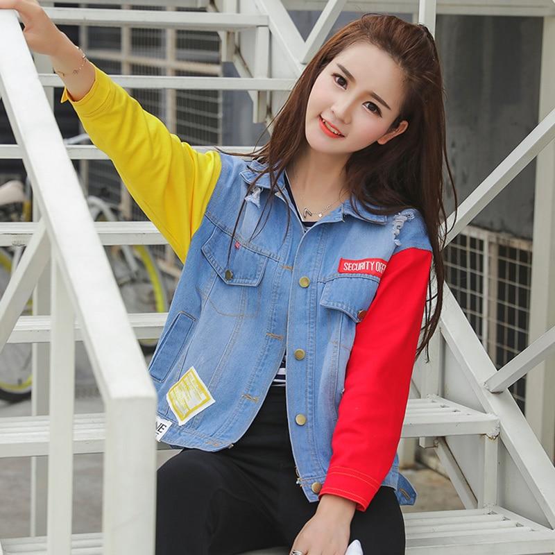 Harajuku Fashion Spell Color Denim   Basic     Jacket   Women 2018 Autumn Winter Retro Loose Lapel Graffiti Hole Denim Jeans   Jacket   Coat