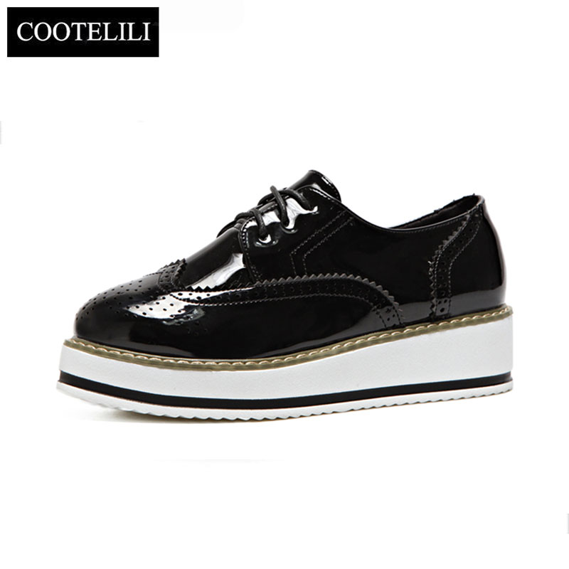 COOTELILI 35-39 Spring Flat Platform Women Shoes Round Toe Slid Oxford shoes Casual Lace-Up British Women Brogue Shoes Ladies mcckle 2017 fashion woman shoes flat women platform round toe lace up ladies office black casual comfortable spring