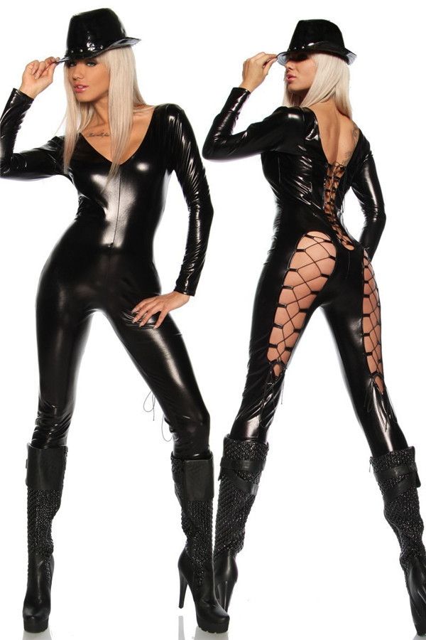 Buy V-neck Backless Sexy Fetish Latex Catsuit Faux Leather Hollow Corset Costume Black Full Body Latex Suit Dress Sexy Lingerie