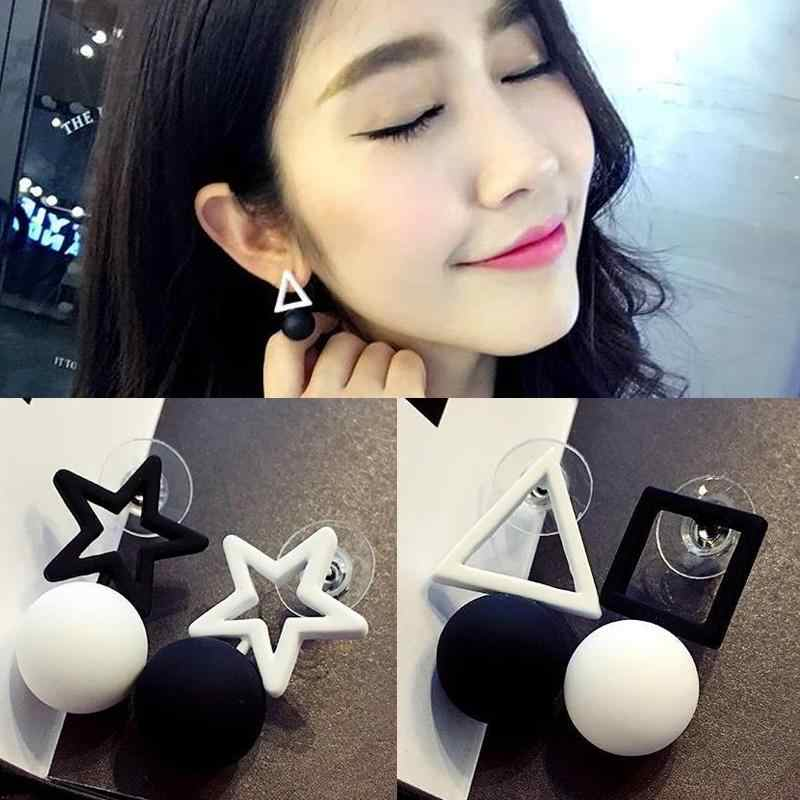 Korean Jewelry Simple Triangle Pentagon Asymmetric Earrings For Women Square Star Ball hape White Black Stub Ear boucle doreille