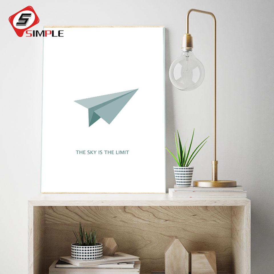 Nordique Papier Avion Toile Affiches Minimaliste Voler Plus Haut de Motivation Toile Peinture Mur Photos Pour Chambre D'enfants Home Decor