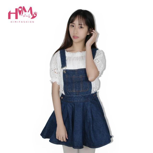 Vivi Japan Strap School Denim Dress For Ladies Dark Blue Removable Summer Detachable Student Overalls Dress Women Kawaii Clothes