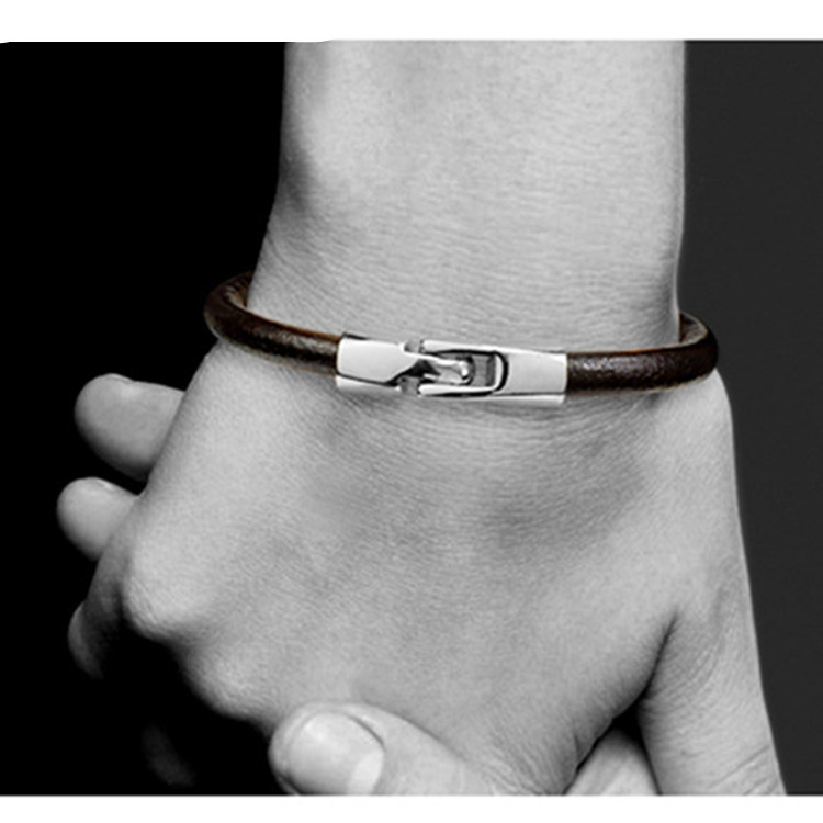 Never Fade 316 Stainless Steel Vintage Genuine Leather Bracelet Men Charm Male Bracelet for Men women