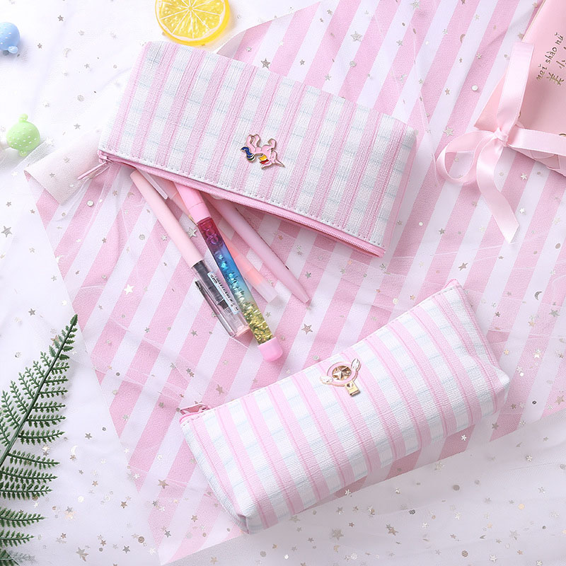 Pencil Case Kawaii Pink Flamingos Unicorn Pencilcase Gird Stripe Pencil Bag For Back to School Bts Girls Gift Korean Stationery -in Pencil Cases from Office & School Supplies on Aliexpress.com | Alibaba Group