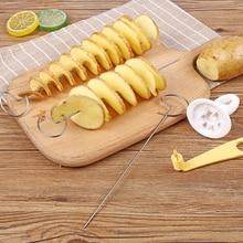 Ручной спиральный резак для картофеля, струна, вращающаяся, для картофельных чипсов, башня, слайсер, сделай сам, витой резак для картофеля, полезные Кухонные гаджеты, инструменты