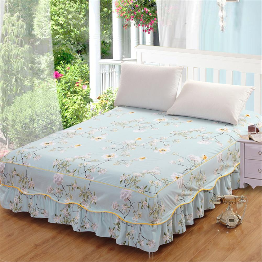 Queen Size Floral Printed Bed Skirt Single Piece Princess