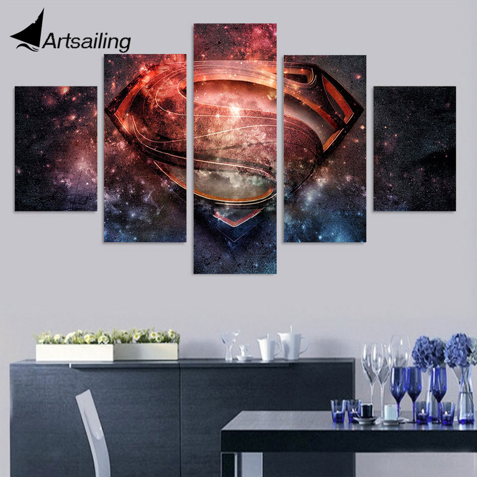 5 panels Printed <font><b>superman</b></font> <font><b>logo</b></font> movie Painting room decor print <font><b>poster</b></font> picture canvas 5 piece <font><b>poster</b></font> and prints ny-4389 image